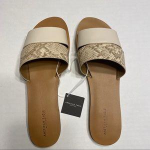 NWT American Eagle Snakeskin Print Sandals Slides